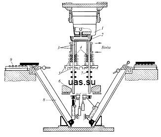Рисунок 20.2 - Схема непрерывной разливки стали на вертикальной МНЛЗ: 1 - сталеразливочный ковш; 2 - промежуточный...