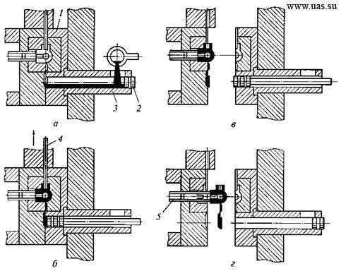 Рисунок 4.1 - Схема технологического процесса литья под давлением на машине с холодной камерой прессования: а...